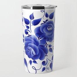 Blue roses gzhel Travel Mug