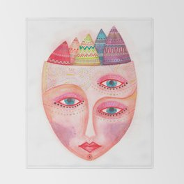 girl with the most beautiful eyes mask portrait Throw Blanket