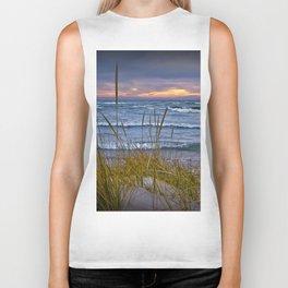 Sunset Photograph of a Dune with Beach Grass at Holland Michigan No 0199 Biker Tank