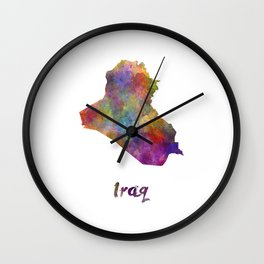 Iraq in watercolor Wall Clock