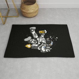 Astronaut Drinking Beer Space Party Rug