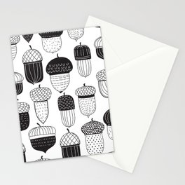 Doodle acorns in black and white Stationery Cards