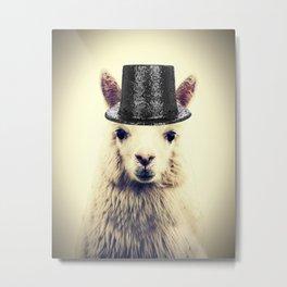 Top Hat Alpaca Metal Print