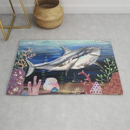 Gray White Shark in Coral Reef Rug
