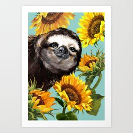 Sloth with Sunflowers Art Print