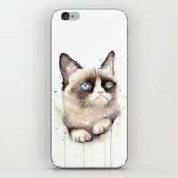 grumpy iPhone & iPod Skins featuring Grumpy Watercolor Cat by Olechka