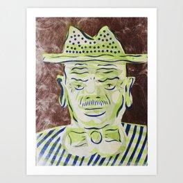 Green Face Man with Hat Cartoon Face Art Print