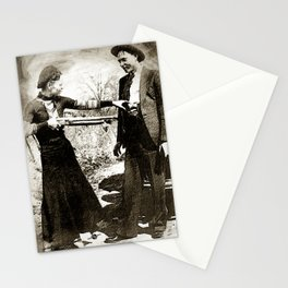 Painting Of Bonnie And Clyde Mock Hold Up Black And White Mugshot Stationery Cards