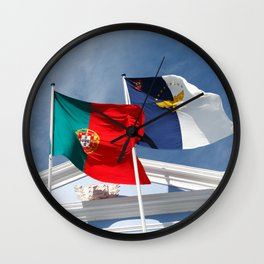Portugal and Azores flags Wall Clock