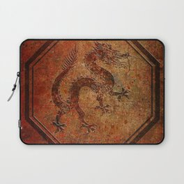Distressed Chinese Dragon In Octagon Frame Laptop Sleeve