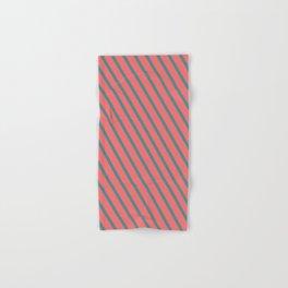 Living Coral Diagonal Stripes Hand & Bath Towel