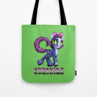 cheshire Tote Bags featuring Cheshire by Jolie Bonnette Art