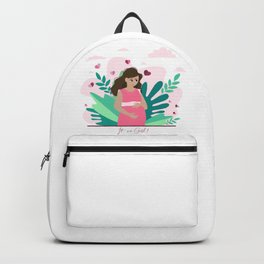 it's a girl! Pregnancy announcement illustration Backpack