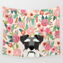 Schnauzer dog head floral background flower schnauzers pet portrait Wall Tapestry