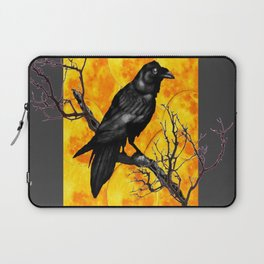 Grey & Gold Pattern  Crow Wildlife Art Laptop Sleeve