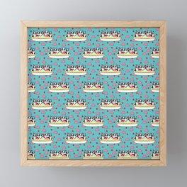 Banana Split Boston Pups with Cherries and Ice Cream Scoops Framed Mini Art Print