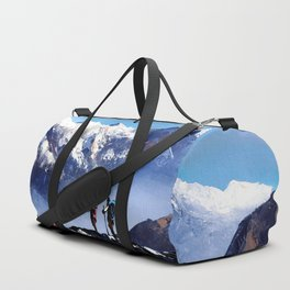 Panoramic View Of Ama Dablam Peak Everest Mountain Duffle Bag