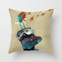 submarine Throw Pillows featuring SUBMARINE by Momenti Riciclati