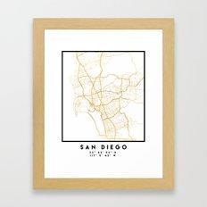 SAN DIEGO CALIFORNIA CITY STREET MAP ART Framed Art Print
