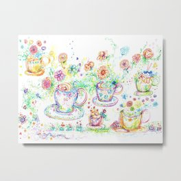 Colorful teacups Metal Print