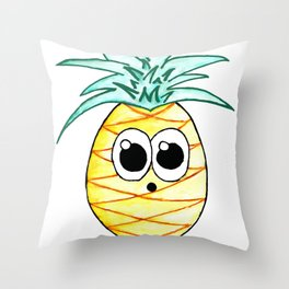 The Suprised Pineapple Throw Pillow