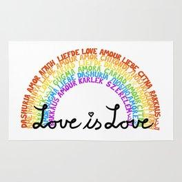 """LGBTQ+ Rainbow """"Love is Love"""" multi-language Rug"""