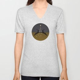 Champagne Gold Star Christmas Tree with Magical Reindeers - Cozy Brown Unisex V-Neck