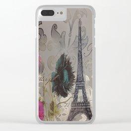 shabby elegance poppy flower french vintage paris Eiffel Tower Clear iPhone Case