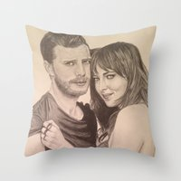 allyson johnson Throw Pillows featuring Jamie Dornan - Dakota Johnson by Virginieferreux