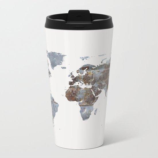 World Map(metal) Metal Travel Mug