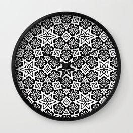 Polygon Flowers - Color: Black&White Wall Clock