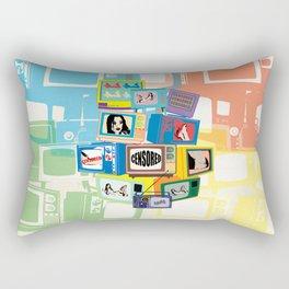Vintage Hot censored girl on TV Rectangular Pillow