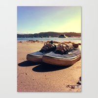 vans Canvas Prints featuring Beached Vans by Pretty In Palms Designs