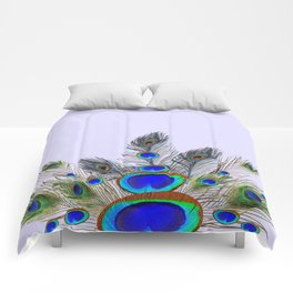 GREEN PEACOCK FEATHER & JEWELS #2 Comforters