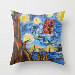 Starry In San Francisco Throw Pillow
