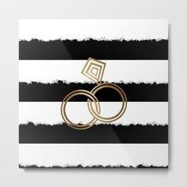 Gold Wedding Rings Metal Print