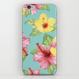 Tropical Hawaiian Hibiscus Floral Print iPhone Skin