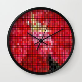 Mottled Red Poinsettia 2 Mosaic Wall Clock