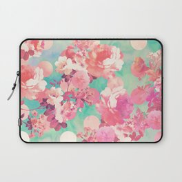 Romantic Pink Retro Floral Pattern Teal Polka Dots Laptop Sleeve