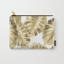 Gold Monstera Leaves on White 2 Carry-All Pouch
