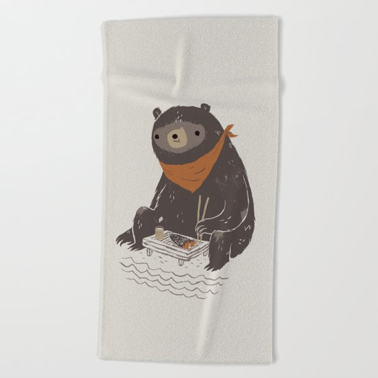 sushi bear Beach Towel