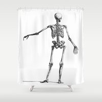 skeleton Shower Curtains featuring Skeleton by jane.y