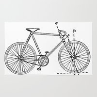 blueprint Area & Throw Rugs featuring Bicycle Blueprint by BravuraMedia