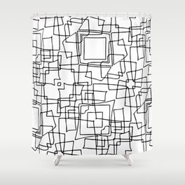 Decorative black and white abstract squares Shower Curtain