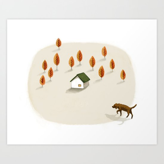The little house surrounded by trees Art Print