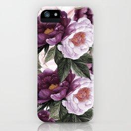 Purple Plum Pink Watercolor Peonies and Greenery iPhone Case