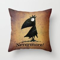 edgar allen poe Throw Pillows featuring Nevermore! The Raven - Edgar Allen Poe by Paul Stickland for StrangeStore