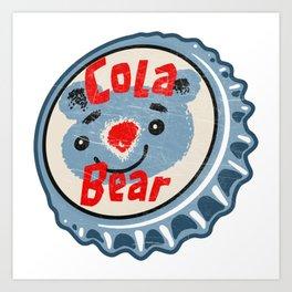 Vintage Cola Bear Soda Pop Bottle Cap Art Print