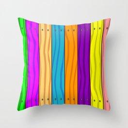 Rainbow Fence Throw Pillow
