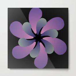 Purple Ombre flower on black background Metal Print